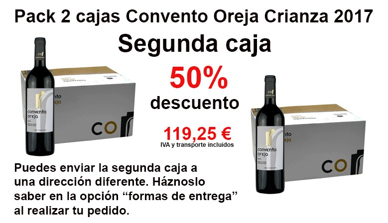 2 boxes pack of 6 bottles 75cl. Convento Oreja Crianza 2017